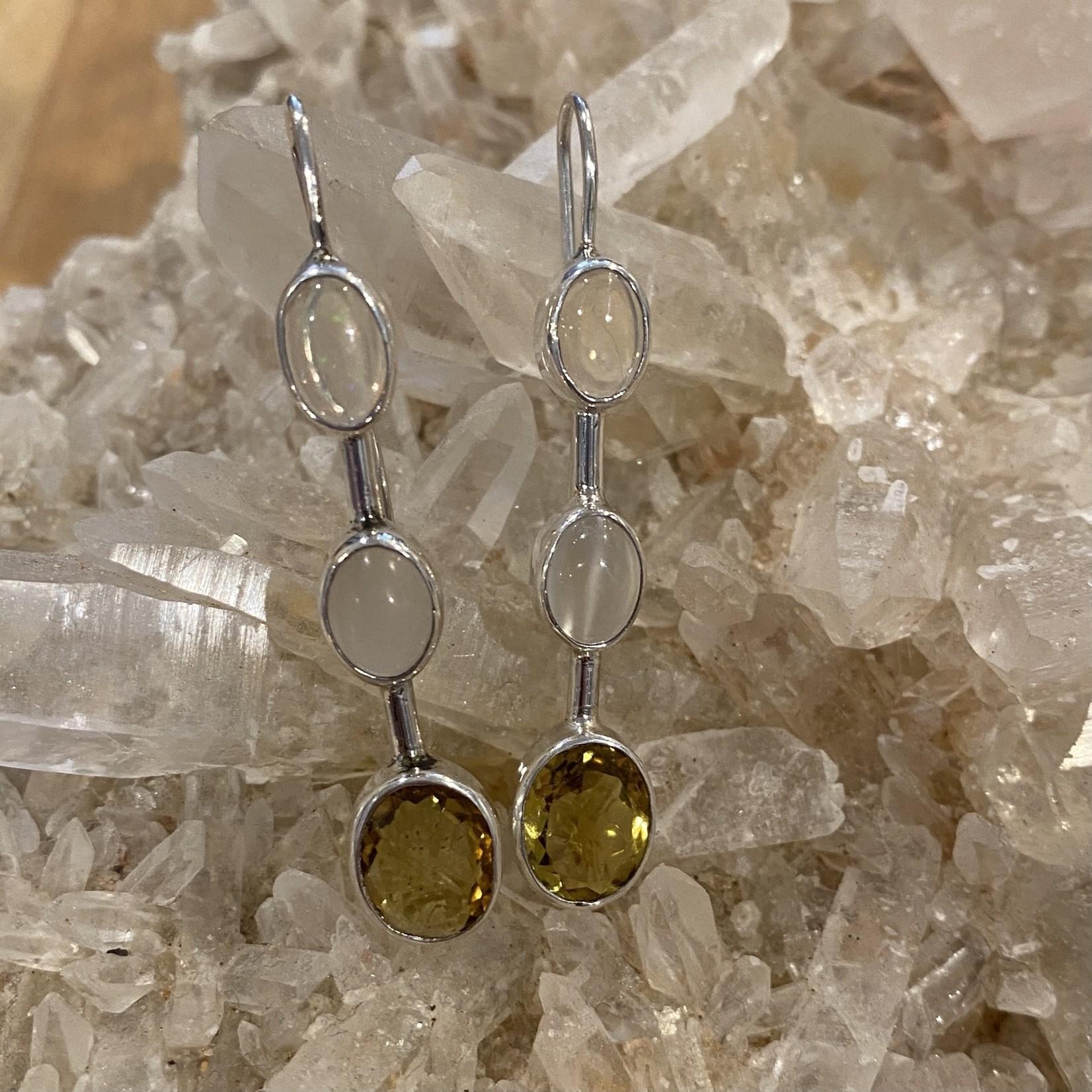 Fire Opal/Moonstone/ Peridot Earrings