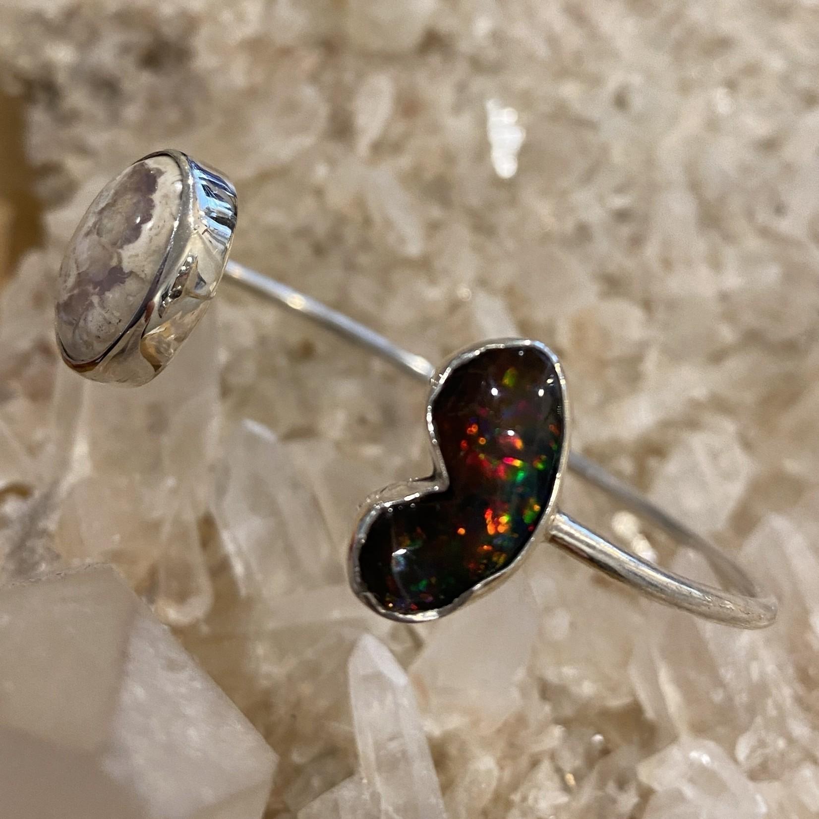 Double Opal SS cuff bracelet