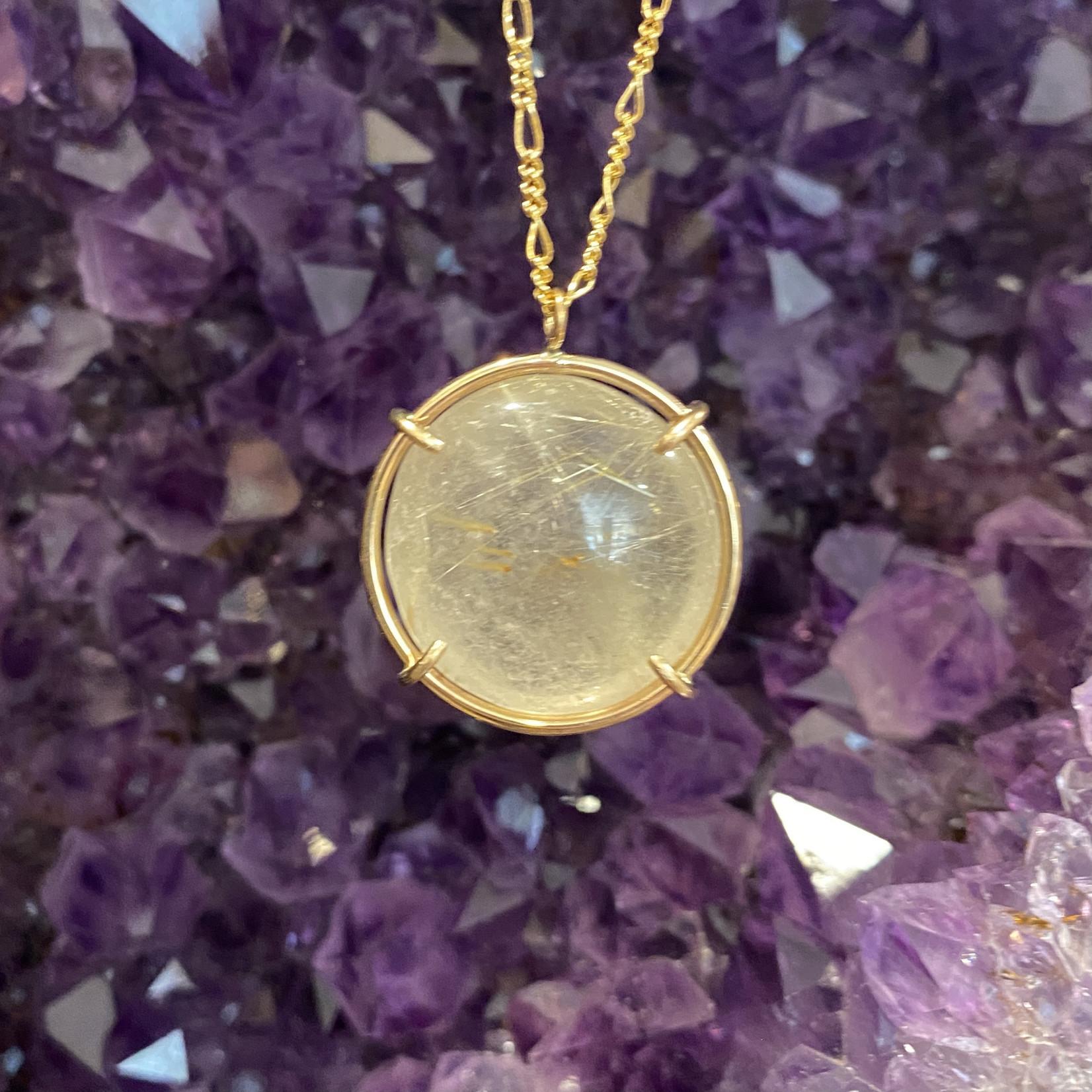 Rutilated Quartz GF Crystal Ball Necklace