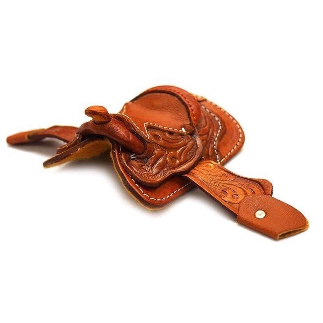 "2"" Seat Western Novelty Miniature Saddle Tooled Tan Leather"
