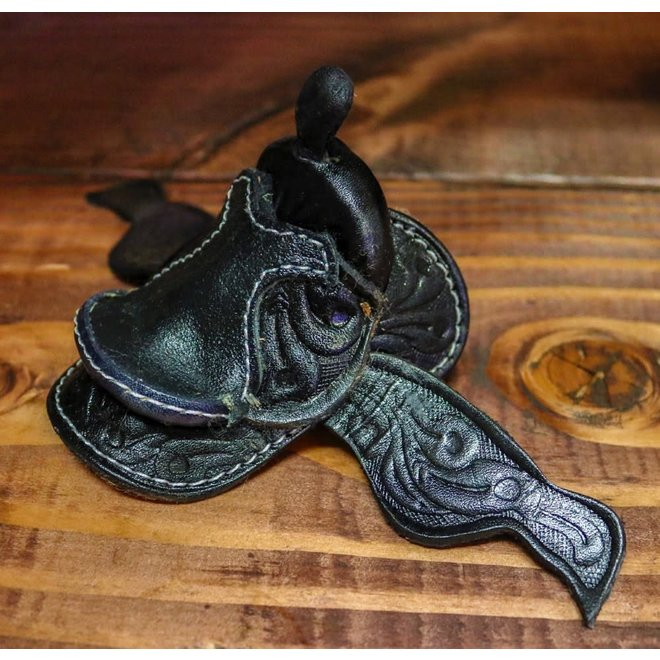 "2"" Miniature Western Saddle Leather Round Decor Cowgirl Cowboy Toy"