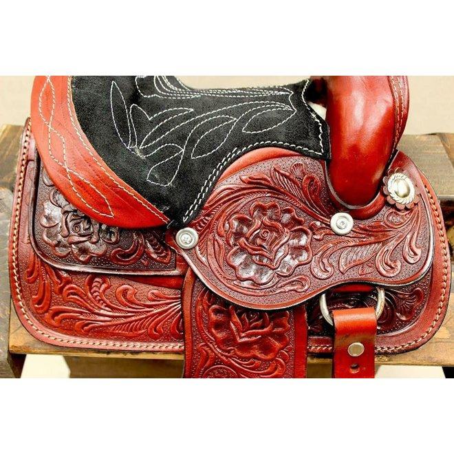 "8"" Red  Mini Toddler Size Leather Western Miniature Pony Saddle"