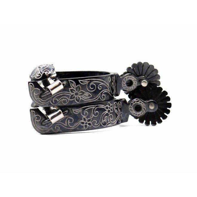Charro Engraved Mexican Espuelas Floreada Negra Spurs