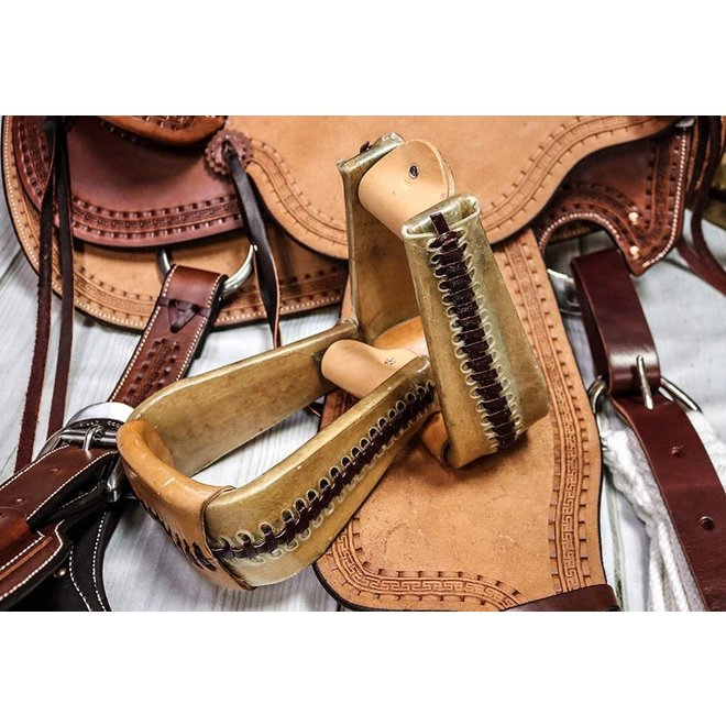 "3"" Roper Rawhide Western Saddle Stirrups"