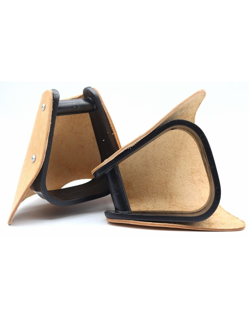 Leather Hooded Pony Stirrups With Tapaderos