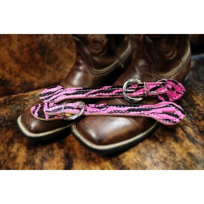 Western Hair on Pink Zebra Print  Ladies Spur Strap