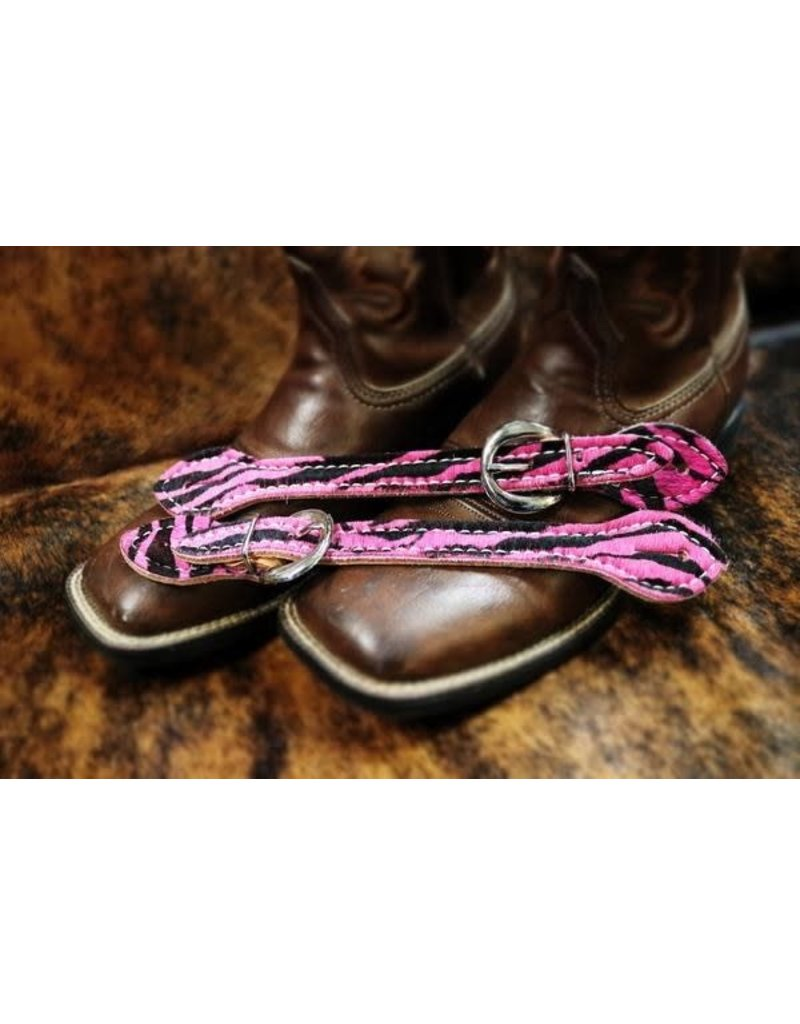 Western Hair on Pink Zebra Print  Ladies Spur Strap