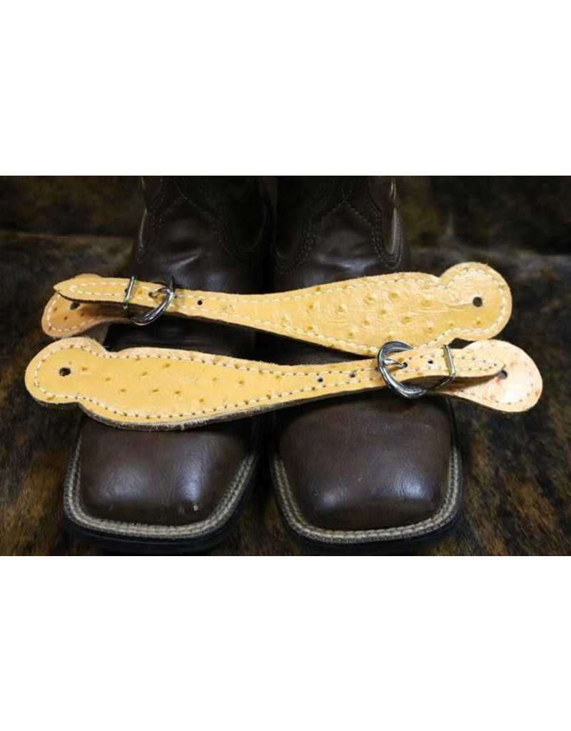 Adult Western Yellow Ostrich Print Spur Strap