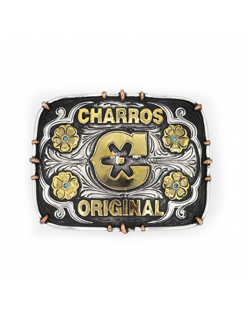 Charros Original Hebilla Fina Negra Flor Belt Buckle