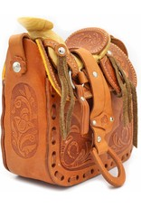 Cowgirl Handbag Tooled Leather Saddle Bag Equestrian Purse Shoulder Purse Small
