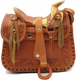 Saddle Purse Tooled Leather Medium