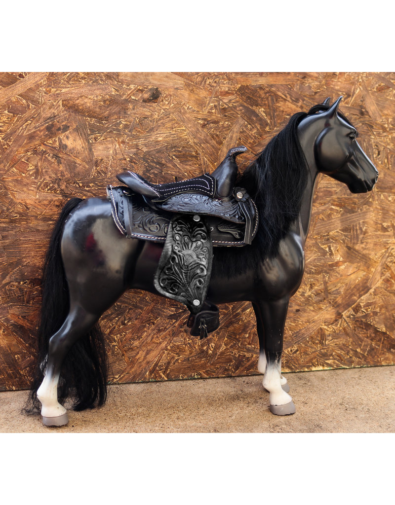 "5"" Black Western Leather Saddle Mini Decoration Saddle"