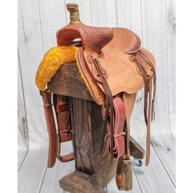 "12"" Roughtout Bear Trap Western Kids Saddle"