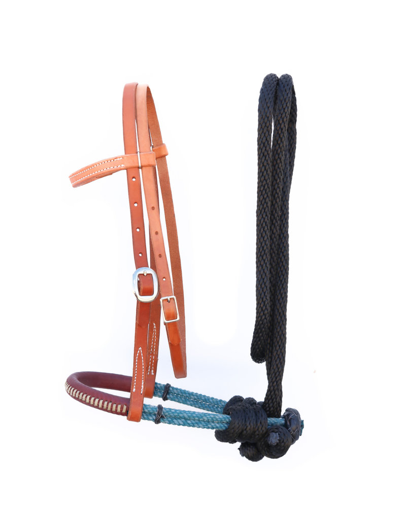 Double Rope Rawhide Laced Headstall Bridle Pony