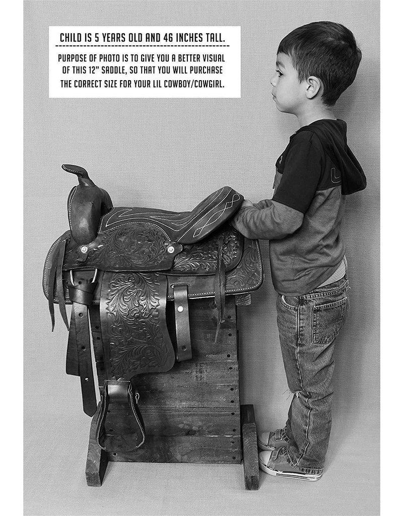 """12"""" Kids Youth Pleasure Western Saddle Tan Leather Mini Pony Youth Saddle"""