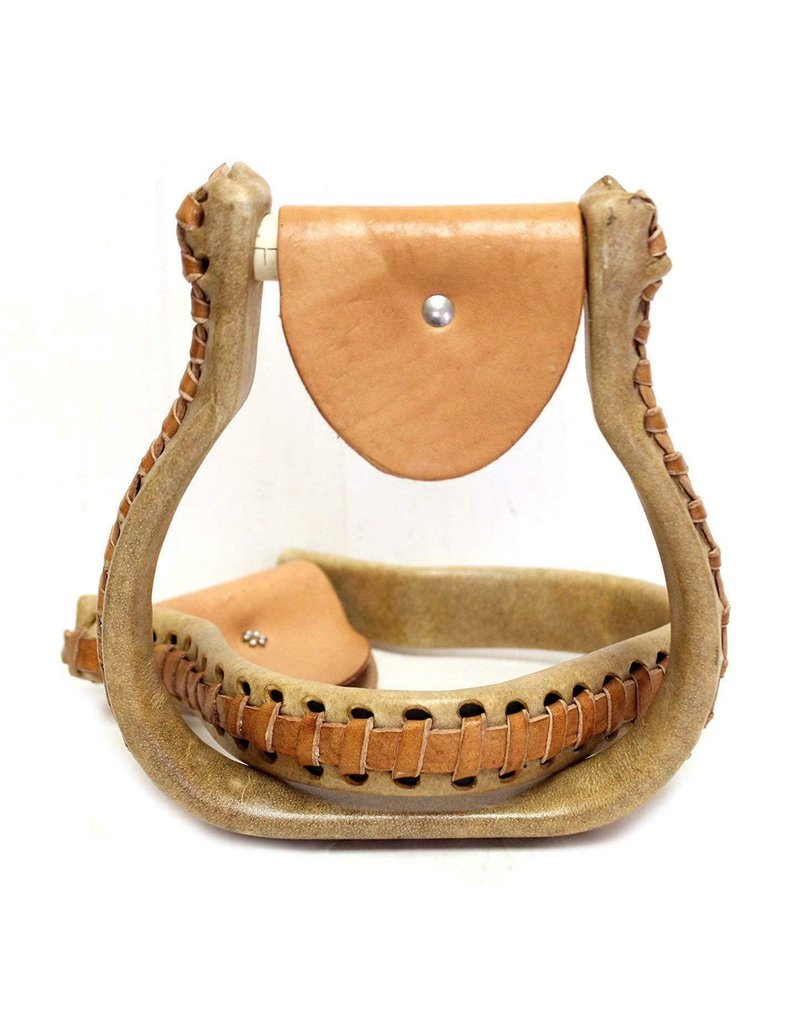 "1"" Flat Bottom Rawhide Oxbow Western  Saddle Stirrups"