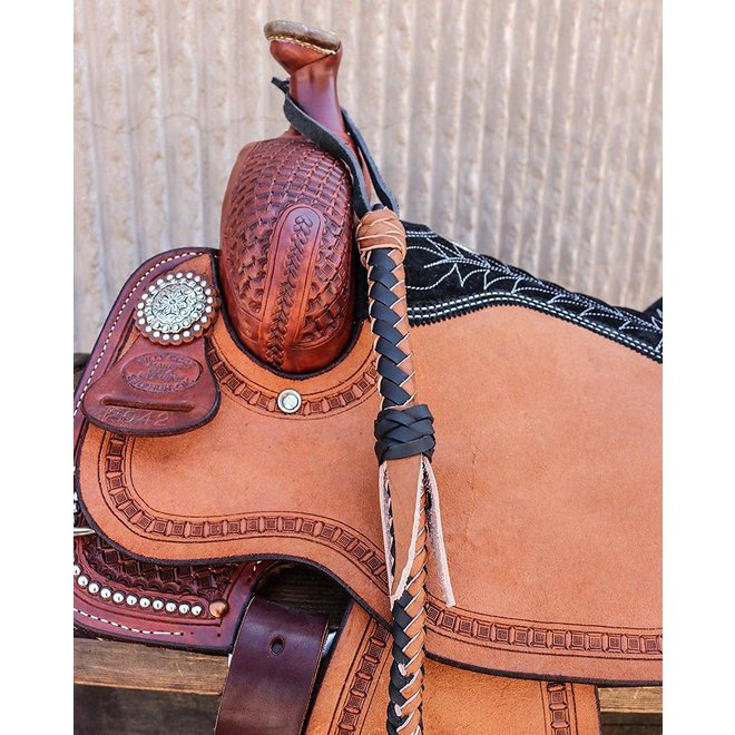 Leather Quirt Genuine Western Whip Tan/Black Design Horse Saddle Cuarta