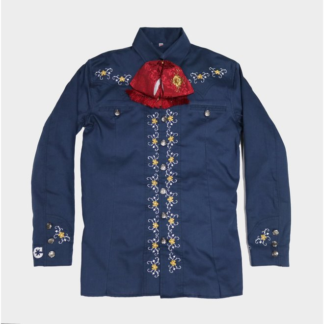 Camisa Charra Bordada Azul Charros Original