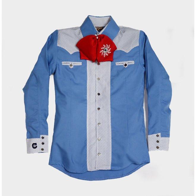 Camisa Charra Azul Bicolor Charros Original