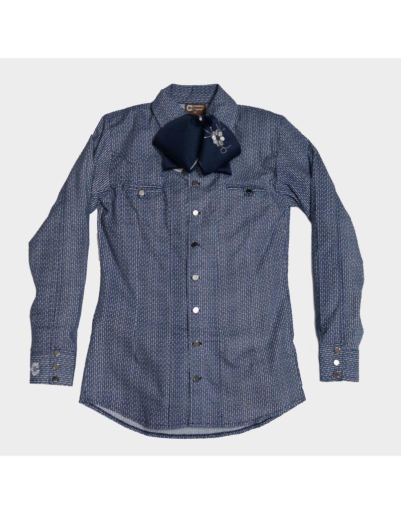 Blue Estampada Camisa Charra Charros Original