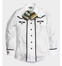Camisa Blanca/Cafe (X) Camisa Charra Charros Original
