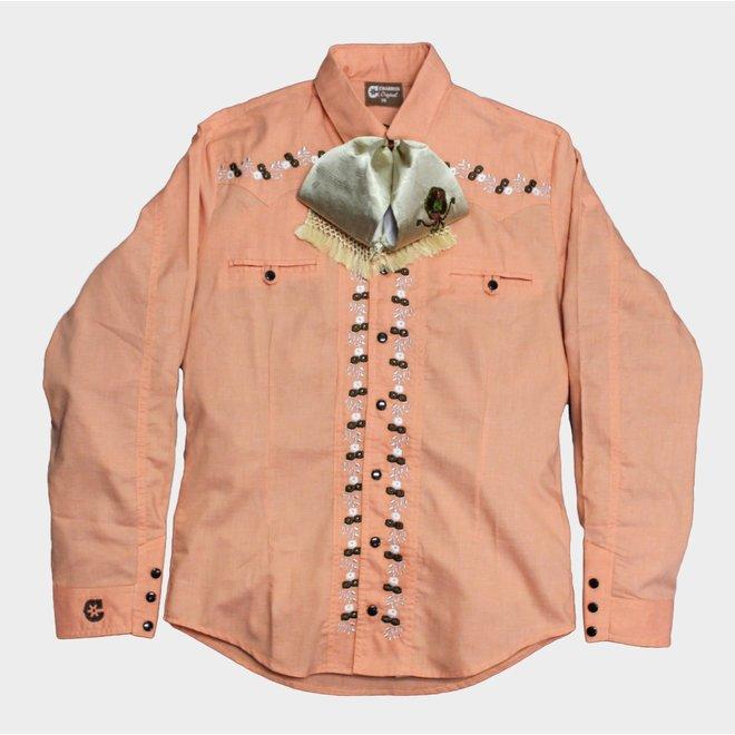 Camisa Charra Diseño Bordada (Salmon) Charros Original