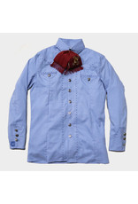 Camisa Charra  Pespunte Azul Charro Blue Shirt