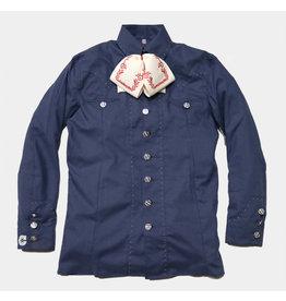 Camisa Charra Diseño Pespunte Azul Marino Charreria