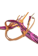 Western Barrel Racing Pink Zebra Print Headstall/Breastcollar