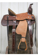 "13"" Tooled Leather High Back Pony Saddle Dark"