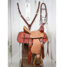 """12"""" Light Tooled Leather High Back Pony Saddle Set"""