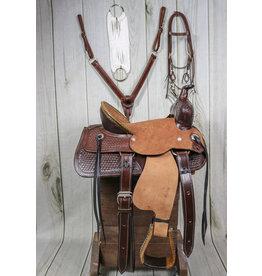 """13"""" Tooled Leather High Back Pony Set"""
