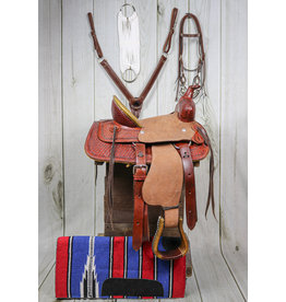 "12"" Light High Back Tooled Pony Saddle With Pad/Cinch"