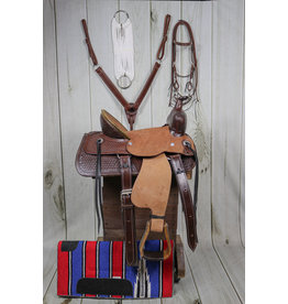 "13"" Tooled Leather High Back Pony Saddle Set W/Pad"