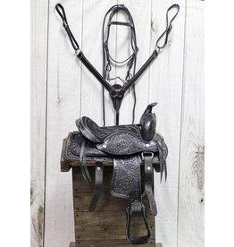 "10"" Pony Black Leather Saddle Kids Set Square"