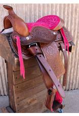 """10"""" Pony Horse Saddle Kids Cowboy Cowgirl Leather Pink Western Saddle"""