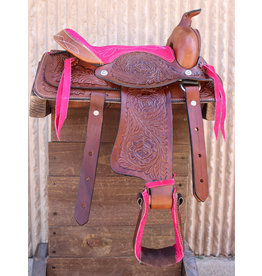 "10"" Pony Horse Saddle Kids Cowboy Cowgirl Leather Pink Western Saddle"