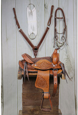 """10"""" Brown Leather Saddle Kids Set RD Breast Collar, Bridle and Cinch."""