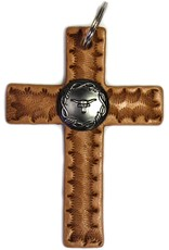 "4"" Western Riding Barrel Horse Saddle Leather Cross Novelty Decor"