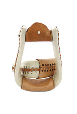White Rawhide Bell Bottom Western Stirrups
