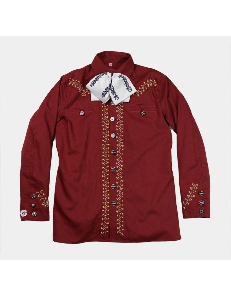 Camisa Charra (Bordada a mano) Vino Charro Shirt Charros Original