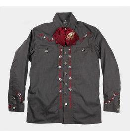 Camisa Charra Bordada Gris Charro Shirt Charros Original