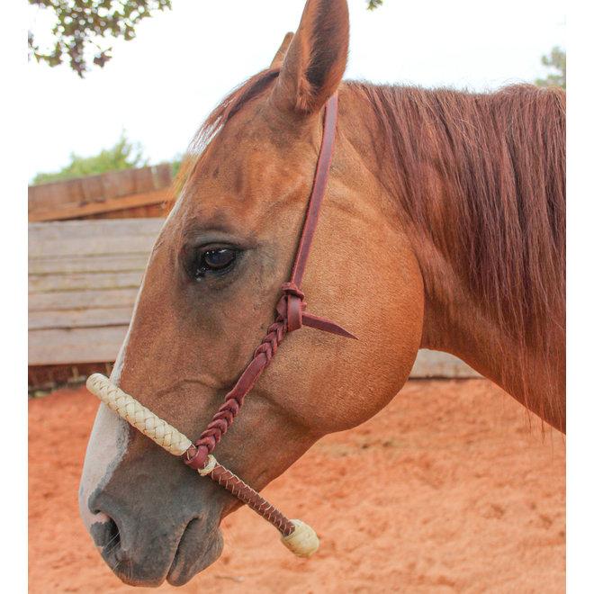 Western Heavy Duty Headstall Cowboy Rawhide Braided Noseband