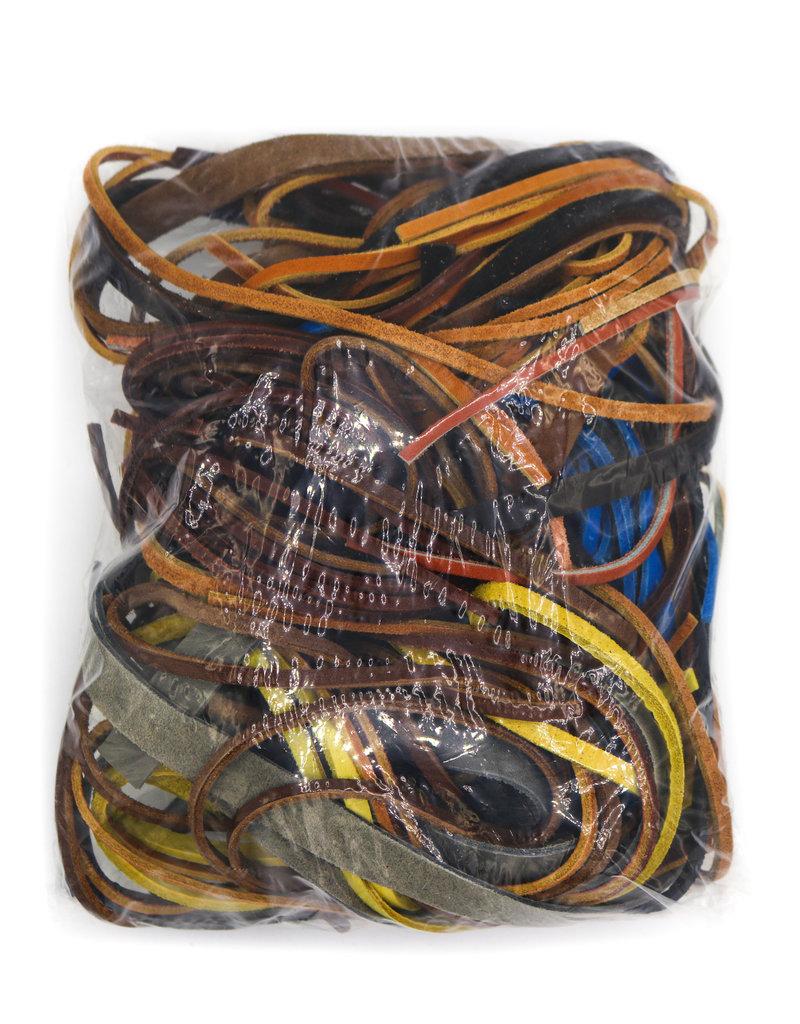 1LB Farmers Bundle Leather Laces Scrap Genuine Leather