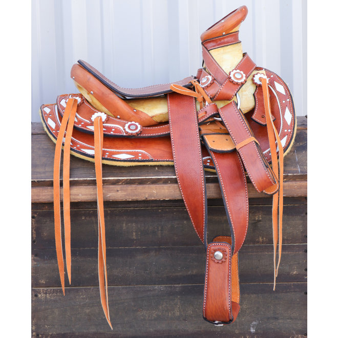 "12"" Tan Montura Pony Nino Kid Saddle Charro"