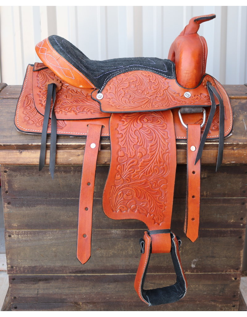 "12"" Tan Kids Youth Pony Saddle Western Saddle Leather  Mini Pony Saddle"