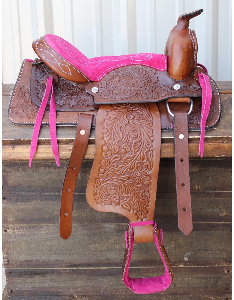 "12"" Kids Youth Pink Western Saddle Brown Leather Mini Pony Youth Saddle"