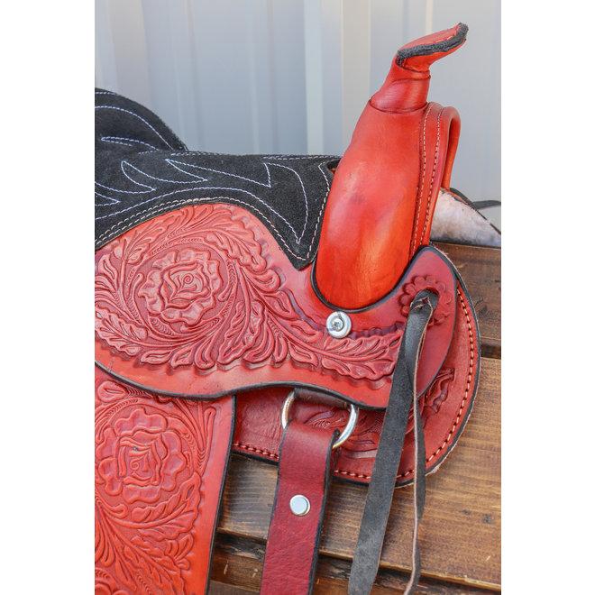 """10"""" Pony Horse Saddle Kids Cowboy Pleasure Leather Burgundy  Western Saddle"""