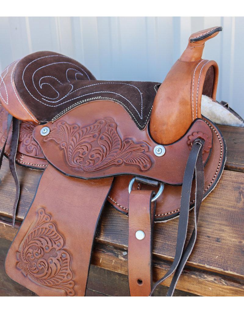 "10"" Pony Mini Horse Saddle Kids Pleasure Leather Brown  Western Saddle RD Skirt"