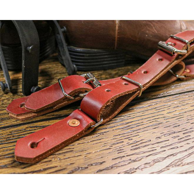 Bull Riding Red Latigo Western Leather Spurs Straps